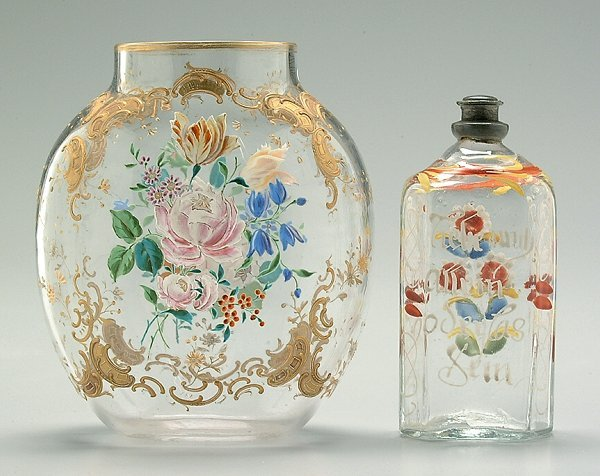 24: Two pieces decorated Bohemian glass: