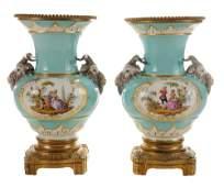 Pair KPM Vases with GiltBronze Mounts