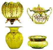Four Pieces Victorian Art Glass with