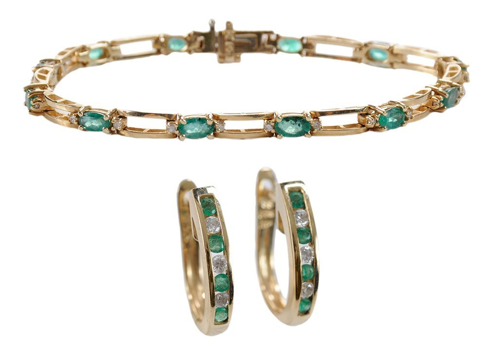 Emerald and Diamond Bracelet, Earrings