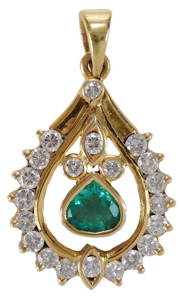 18 Karat Yellow Gold Emerald and
