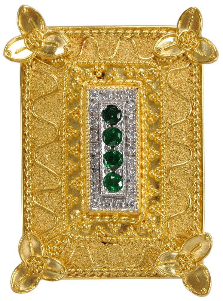 22 Karat Yellow Gold and Gemstone
