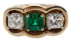 Mans Emerald and Diamond Ring