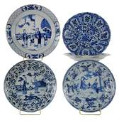 Five Blue and White Chinese Export