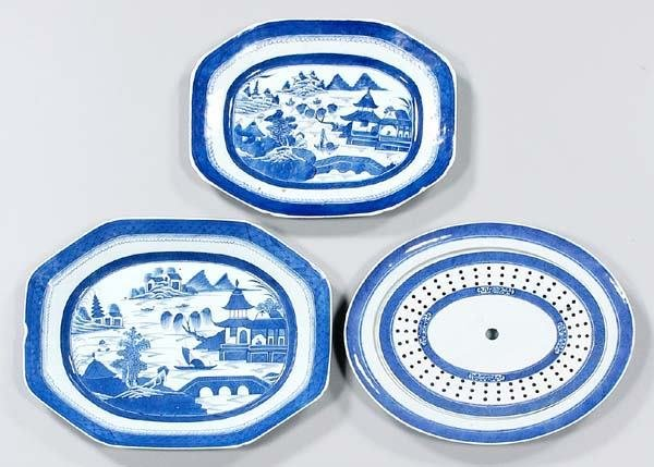 10: Three large Canton serving platters: