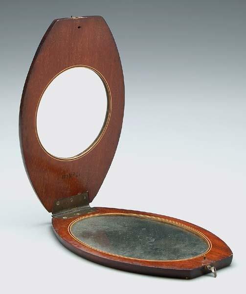 16: Mahogany folding mirror,