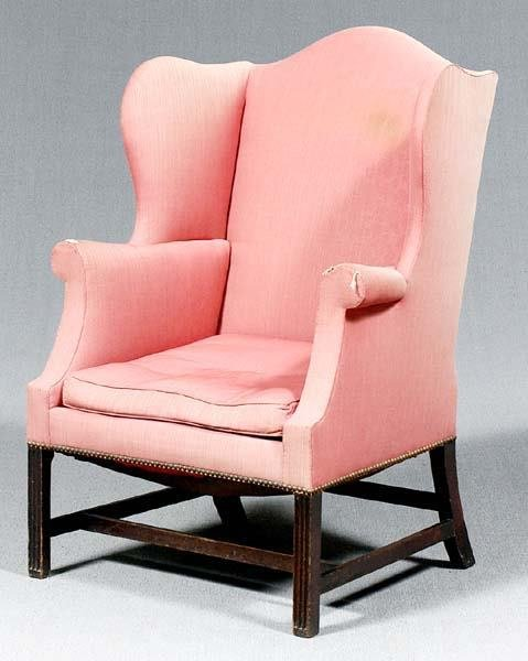 18: George III mahogany wing chair,