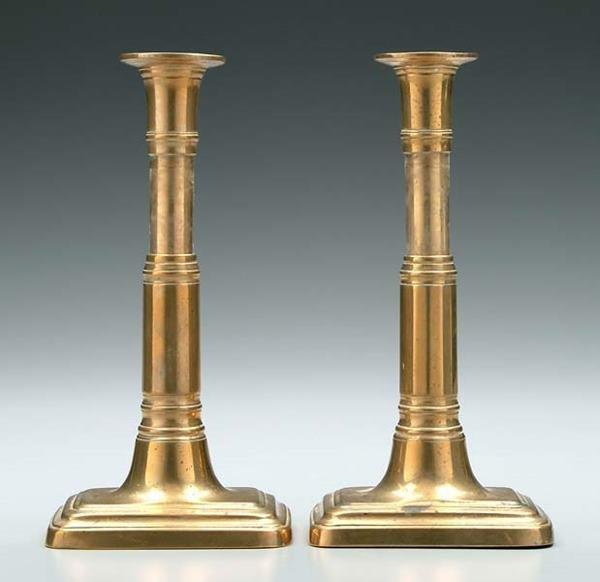 20: Pair telescoping brass candlesticks: