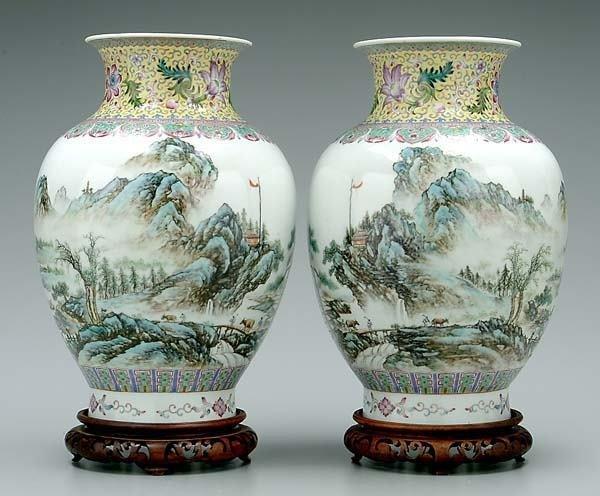 661: Pair [famille rose] vases