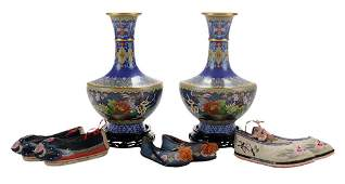 Pair Cloisonn Vases on Stands and