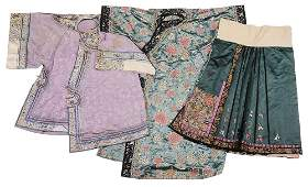 Three Chinese Silk Clothing Articles