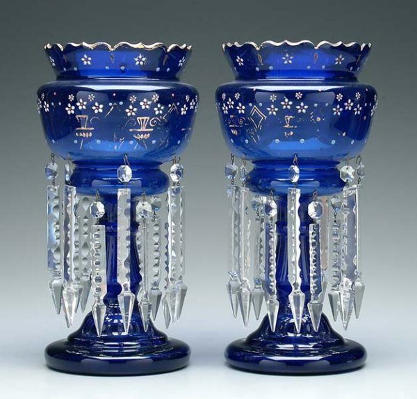 2: Pair cobalt glass lusters: