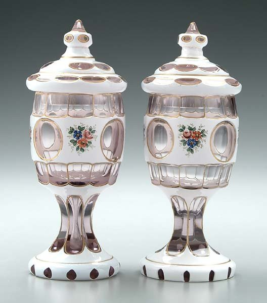 4: Pair cased glass lidded jars: