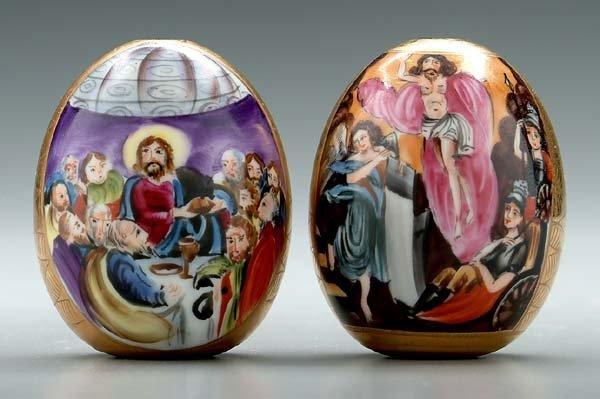 6: Two Russian porcelain eggs: