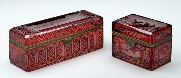 7: Two Bohemian glass lidded boxes: