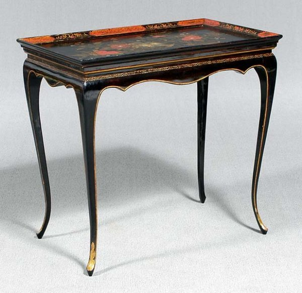 14: Queen Anne style japanned tea table,