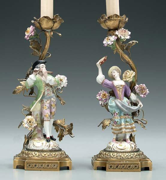 17: Pair porcelain and bronze doré lamps: