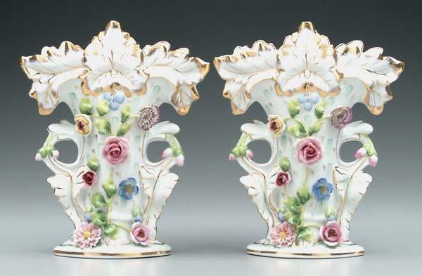 20: Pair Old Paris porcelain vases: