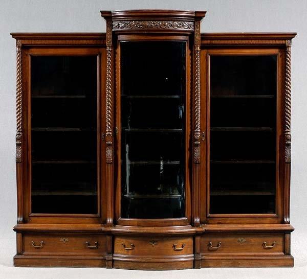 22: Victorian walnut china cabinet,
