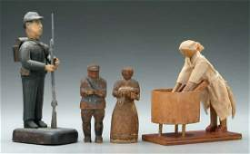 400: Four pieces carved wood folk art: