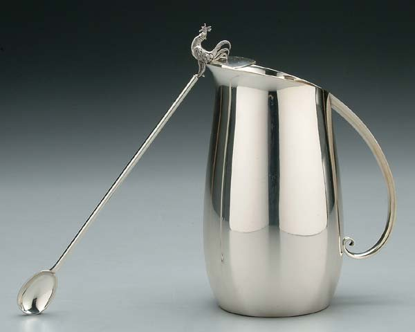 606: Tiffany cocktail pitcher and stirrer: