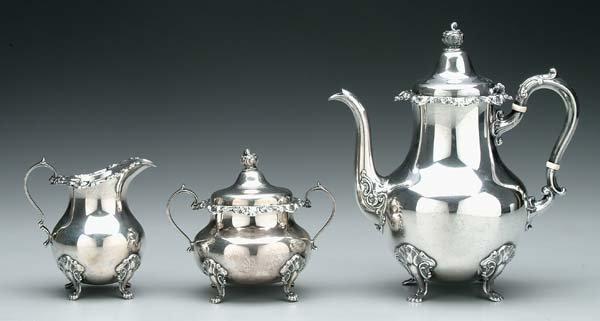 611: Gorham sterling silver tea service,