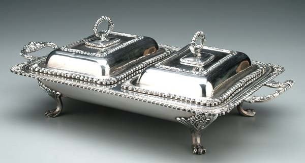 613: Silver-plated double-well server: