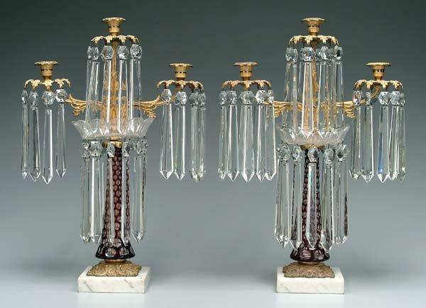 616: Pair three-arm bronze doré candelabra: