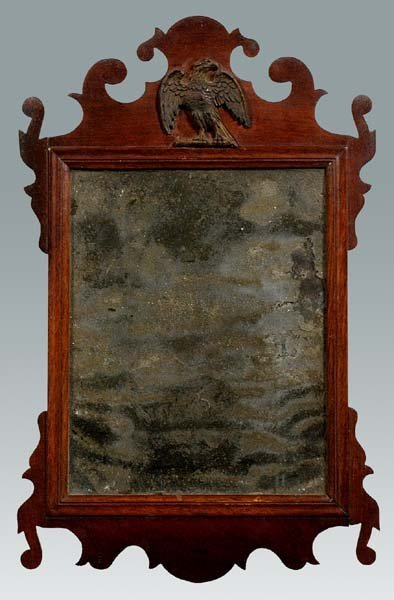 620: Diminutive Chippendale looking glass,