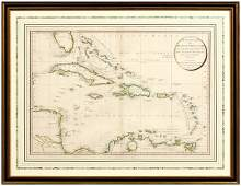 843: Hand-colored 1796 map of West Indies,