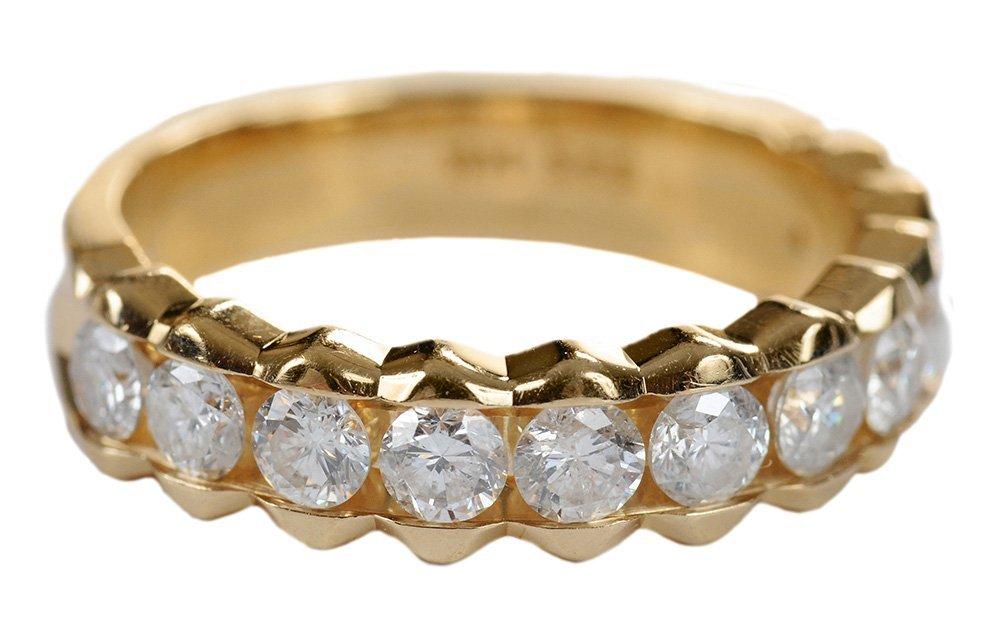 14 Karat Yellow Gold and Diamond Ring