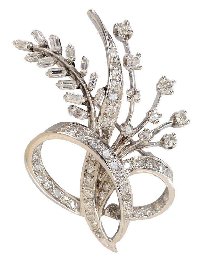 14 Karat White Gold and Diamond Brooch