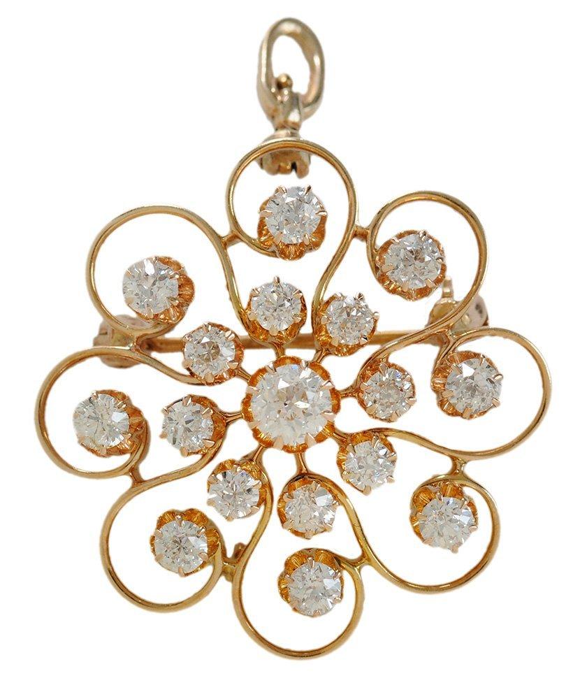 Vintage 14 Kt. Gold and Diamond Brooch