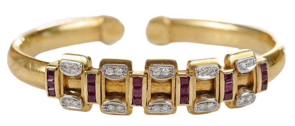 18 Karat Yellow Gold Diamond and Ruby