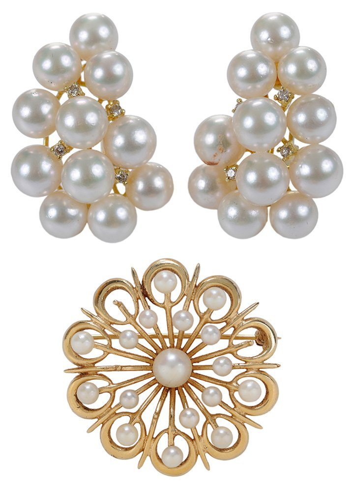 14 Karat Gold and Pearl Ear Clips,