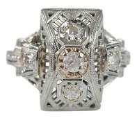 18 Karat White Gold Vintage Style Ring