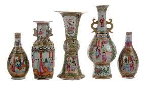Five Famille Rose Porcelain Vases