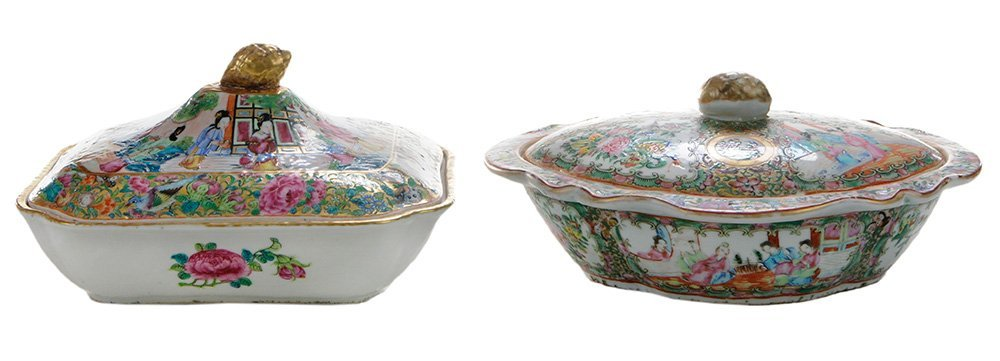 Two Rose Medallion Covered Dishes