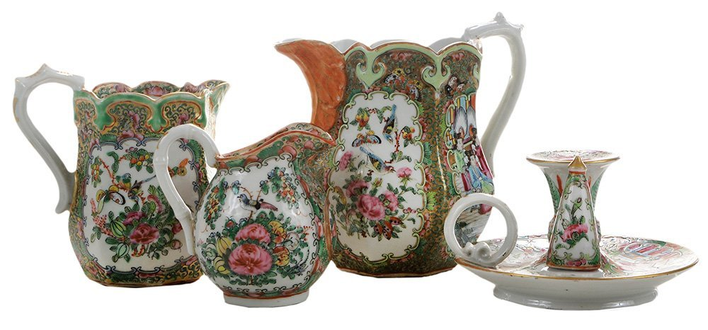 Two Rose Medallion Pitchers and a
