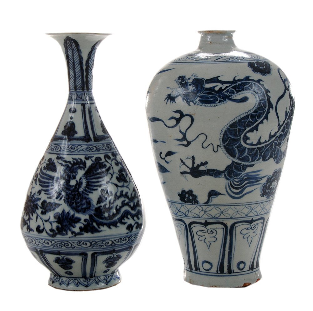 Blue and White Meiping Dragon Vase
