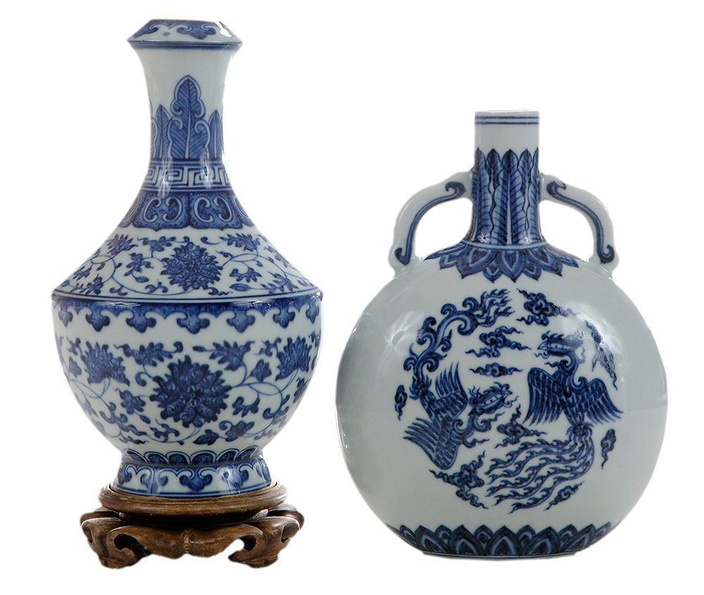 Blue and White Garlic-Head Vase with a