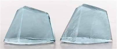 Pair of Blenko Crystal Bookends, 1977