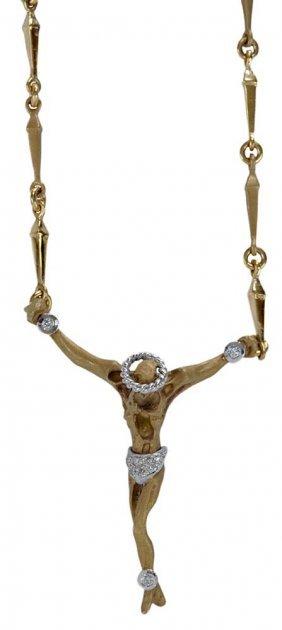 18 Karat Gold And Diamond Crucifix