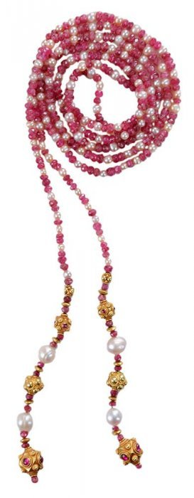 Ruby And Pearl Beaded Lariat Necklace