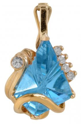 Gold, Diamond And Blue Topaz Pendant