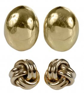Two Pair Gold Earrings