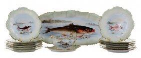 Fifteen-piece Limoges Porcelain Fish
