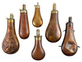 Six Antique Shot Flasks