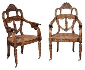 Pair Armchairs Made Of Oak Taken From