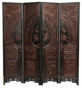 Chinoisserie-decorated Four-panel